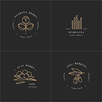 Gesunde öko-lebensmittel-logo-vorlage