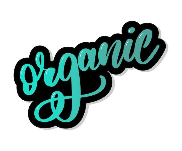 Gesunde organische natürliche öko-bio-lebensmittel, die kalligraphie beschriften