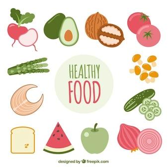 Gesunde reihe von bunten lebensmittel