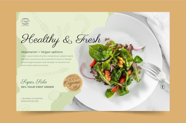 Gesunde restaurant-banner-vorlage