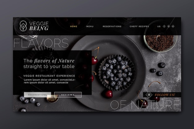 Gesunde restaurant landing page vorlage