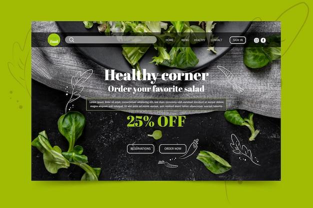 Gesunde restaurant-landingpage-vorlage