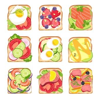 Gesunde sandwiches. leckeres frühstückstoastbrot mit avocado und lachs, salat, eiern und tomaten, erdbeeren. vegetarisches sandwich-vektor-set. gesunde mahlzeit des illustrationssandwiches mit gemüse und imbiß