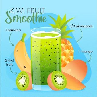 Gesunde smoothie-rezeptillustration