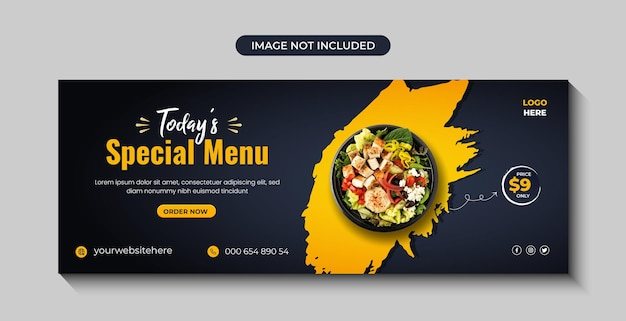 Gesunde und frische salatspeisekarte facebook social media cover banner design premium vector