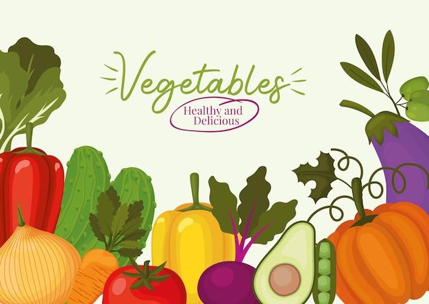Gesunde und köstliche beschriftung der gemüsesorten und satzgemüsesymbole auf einem weißen illustrationsentwurf