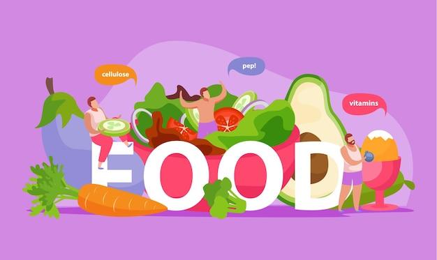 Gesunde und super lebensmittelillustration