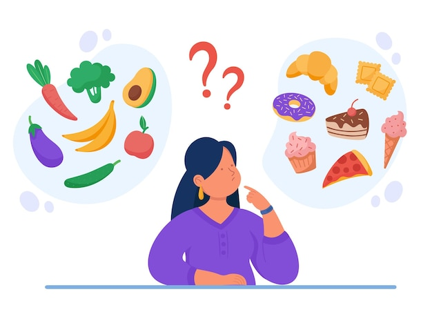 Gesunde vs ungesunde lebensmittel flache illustration