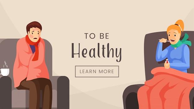 Gesunde web-banner-vorlage zu sein. medizinische klinik, krankenhaus, behandlungseinheit, zielseitendesign, gesundheitswesenindustrie-plakatkonzept. leute mit flacher illustration des grippevirus mit typografie