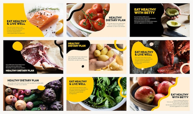 Gesunder ernährungsplan vorlage vektor marketing lebensmittel präsentationsset