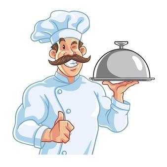 Gesunder, fitter, muskulöser koch, der essen serviert, vektor-logo-charakter-design