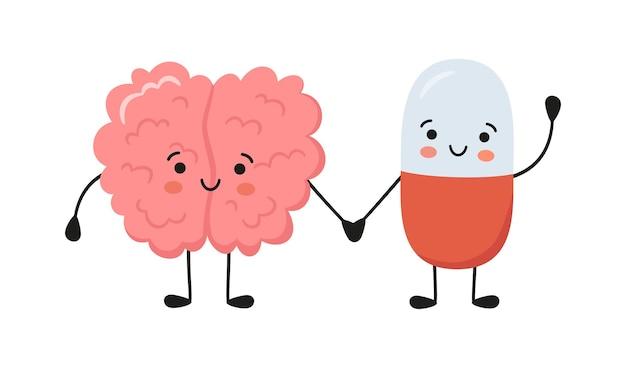 Gesunder gehirncharakter und glückliche lächelnde medizinpillencharaktere halten händchen. kawaii-kapsel und süße gehirnfiguren. drogen therapie. vektor lokalisierte illustration auf weißem hintergrund.