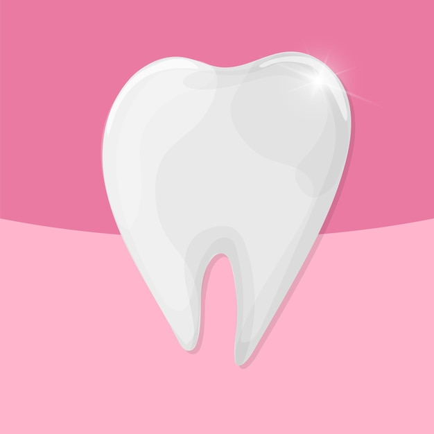 Gesunder glänzender zahn des vektors auf rosa hintergrund - medizinische illustration - zahnpflege