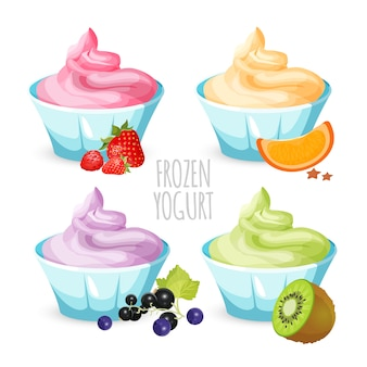 Gesunder hausgemachter gefrorener joghurtnachtisch