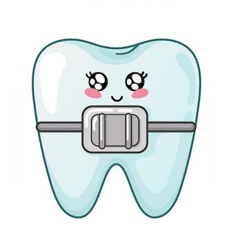 Gesunder kawaii zahn mit netter zeichentrickfilm-figur der zahnmedizinischen klammern