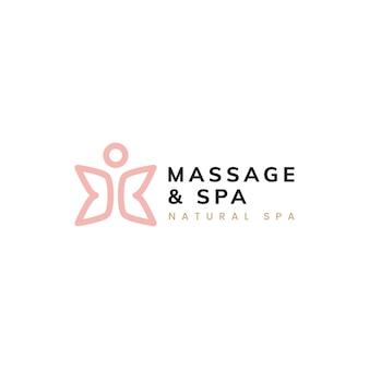 Gesunder lebenlogovektor der massage und des badekurortes