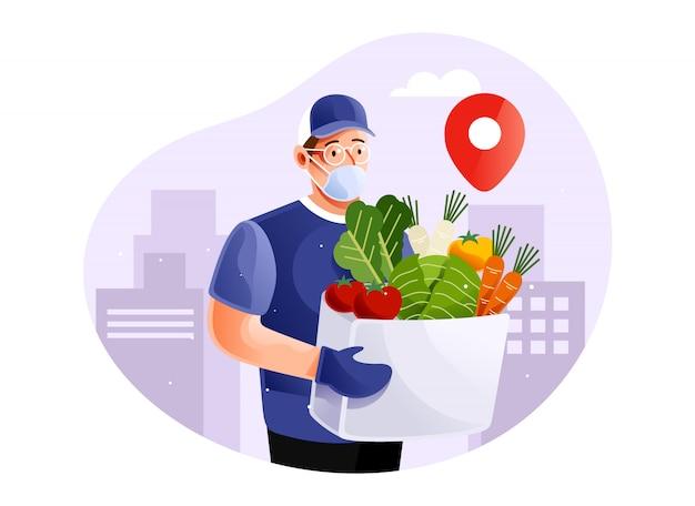 Gesunder lebensmittel-lieferservice bei pandemie
