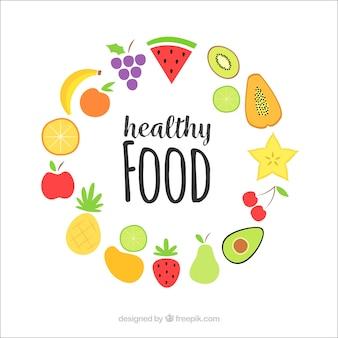 Gesunder Lebensmittelhintergrund mit flachem Design