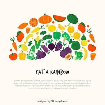 Gesunder Lebensmittelhintergrund mit Hand gezeichneter Art