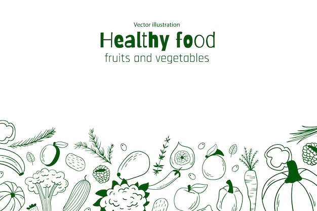Gesunder lebensmittelhintergrund. vektor-illustration. früchte und gemüse