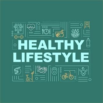 Gesunder lebensstil, banner für gesundheitswortkonzepte. bewusste ernährung und fitness. infografiken mit linearen symbolen auf grünem hintergrund. isolierte typografie. vektorumriss rgb-farbabbildung
