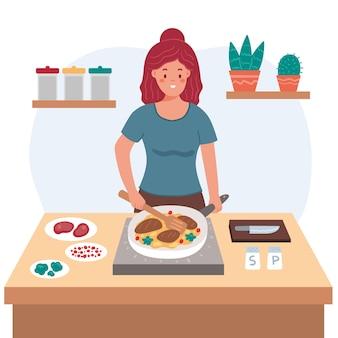 Gesunder lebensstil beim kochen von lebensmitteln