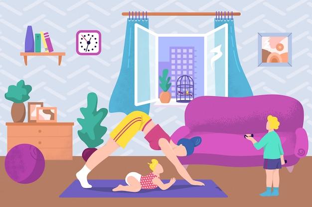 Gesunder lebensstil der mutter, yoga-übungssport in der familie mit baby, illustration. weibliche frau fitness, trainingspose im haus. training mit kind zusammen zu hause, kindheit.