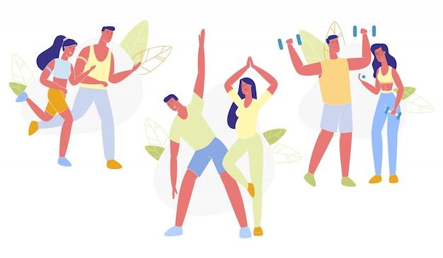 Gesunder lebensstil des glücklichen paar-sportaktivitäts-satzes