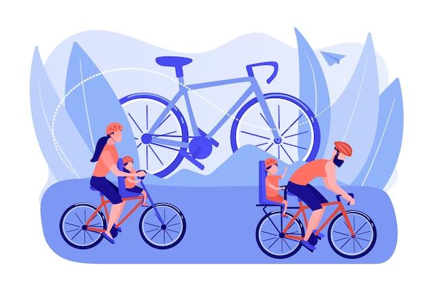 Gesunder lebensstil, eltern und kinder treiben gemeinsam sport. radfahrerlebnisse, familienradtouren, beste radwege, modernes fahrradausrüstungskonzept. isolierte illustration des rosa korallenblauvektors