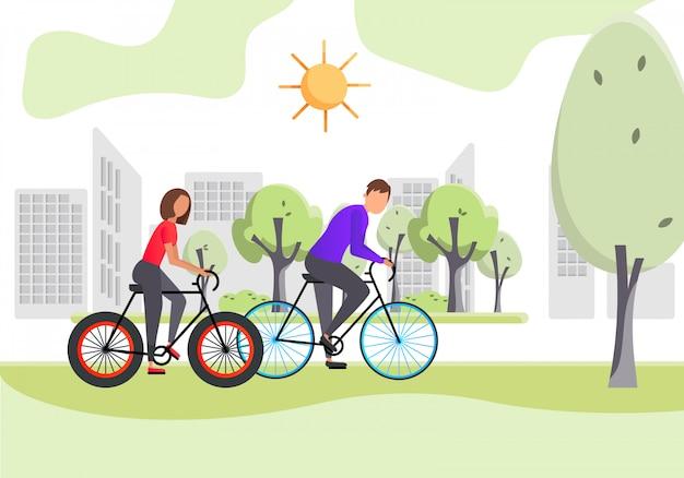 Gesunder lebensstil. junge frau und mann fahren fahrrad auf der straße im sommer. farbe-vektor-illustration