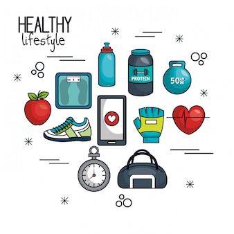 Gesunder lebensstil-konzeptelemente sport