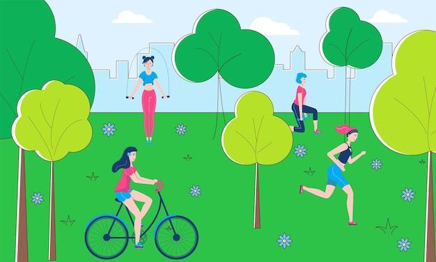 Gesunder lebensstil menschen charakter zusammen sport im freien körperliche aktivität, öffentliche park fitness flache vektorgrafik. street workout übung laufen, fahrrad fahren und gute körperkondition.