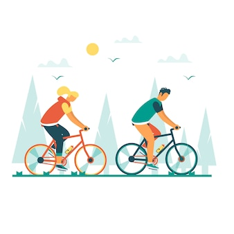 Gesunder lebensstil mit jungen mann und frau, die fahrrad fahren. modernes vektorillustrationskonzept mit designradfahren