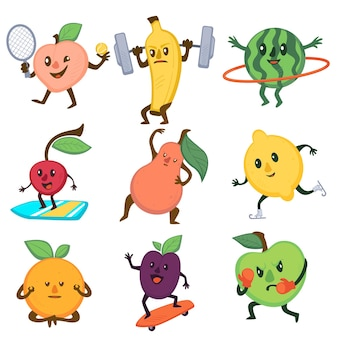 Gesunder lebensstil mit sportlichen früchten, pfirsich beim tennisspielen. bodybuilding-banane, surfkirsche, trainingsbirne und skizitrone. vermittlung von orange, schlittschuhpflaume und boxapfelvektor