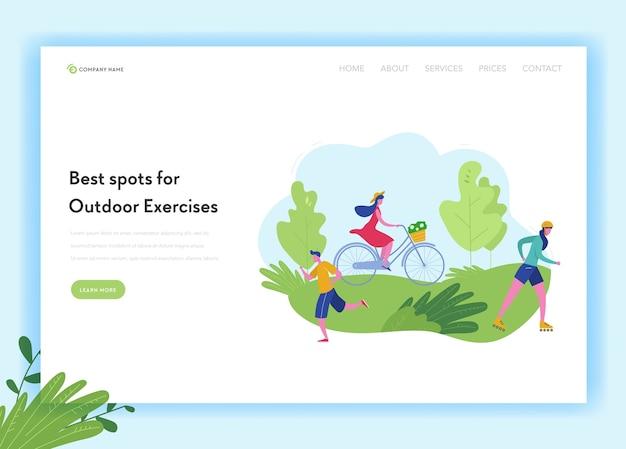 Gesunder lebensstil sport menschen landing page template. sport- und erholungskonzept mit mann und frau charakter reiten fahrrad, skifahren, joggen im park für website, webseite.