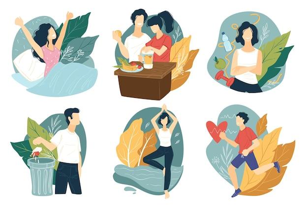 Gesunder lebensstil und sportliche lebensweise. menschen, die sich körperlich betätigen, gutes essen mit vitaminen essen und schlechte gewohnheiten aufgeben. früh aufwachen, zur verbesserung des herzens laufen, vektor in flach