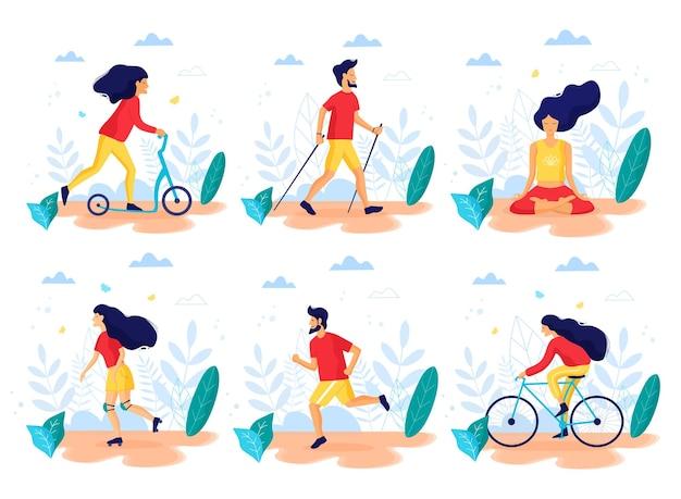 Gesunder lebensstil verschiedene körperliche aktivitäten flache vektorillustration