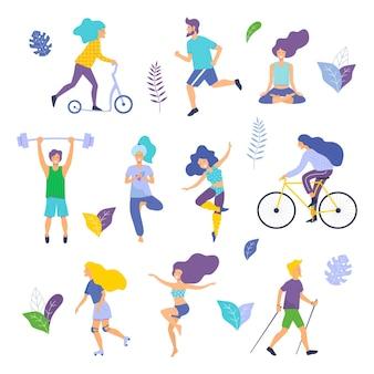 Gesunder lebensstil. verschiedene körperliche aktivitäten: laufen rollschuhe tanzen bodybuilding yoga fitness roller nordic walking.