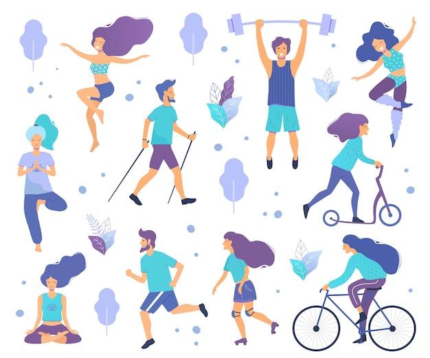 Gesunder lebensstil verschiedene körperliche aktivitäten