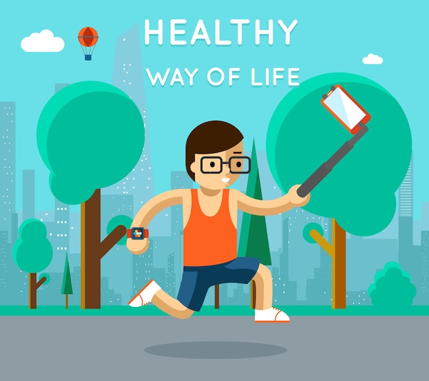 Gesunder lebensweg. sport einbeinstativ selfie im park. übung und lauf, aktiver athlet