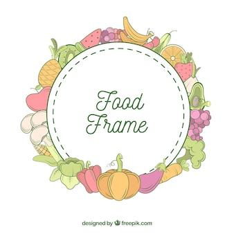 Gesunder nahrungsmittelrahmen mit hand gezeichneter art
