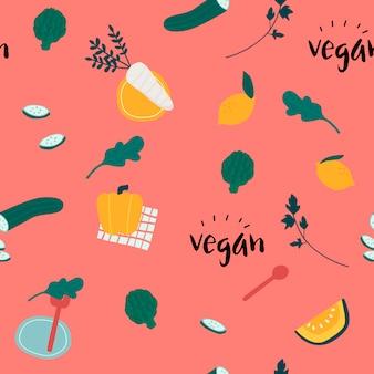Gesunder nahtloser tapetenvektor des strengen vegetariers
