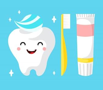 Gesunder netter Karikaturzahncharakter, der glücklich Zahn mit Zahnpasta lächelt.