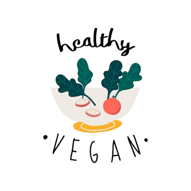 Gesunder salat des strengen vegetariers in einem schüsselvektor