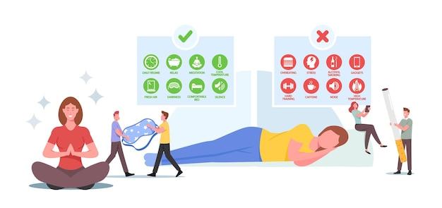 Gesunder schlaf-konzept. charaktere mit tipps infografik für guten oder schlechten schlaf. entspannte frau im schlafzimmer mit schlafmaske. süße träume, gute biologische rhythmen. cartoon-menschen-vektor-illustration