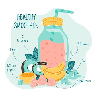 Gesunder smoothie in einem glas mit strohhalm