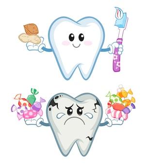 Gesunder und ungesunder zahn