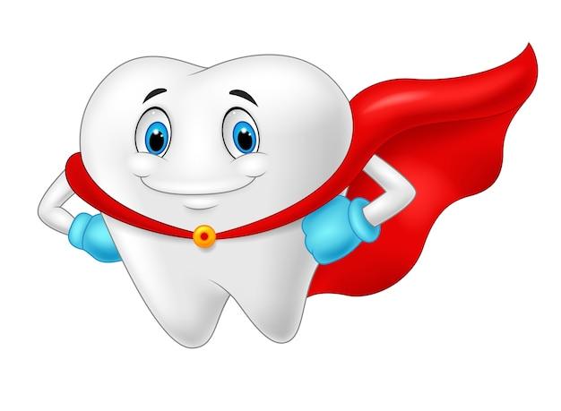 Gesunder zahn des glücklichen superhelden