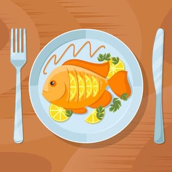 Gesundes abendessen mit frischem fisch. fisch köstliche tellerillustration. leckerer fisch auf teller mit gabel und messer