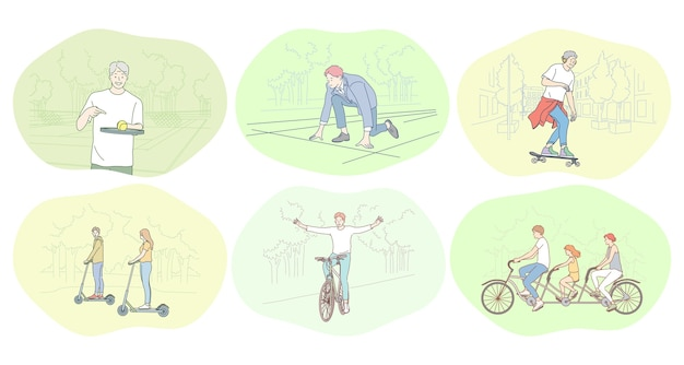 Gesundes aktives lebensstil-, sport-, freizeithobbykonzept.